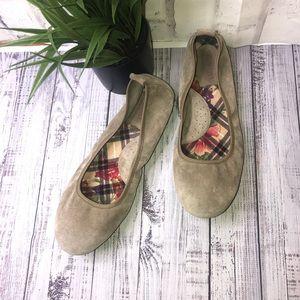 Born leather tan/khakis ballet flats. Size 10